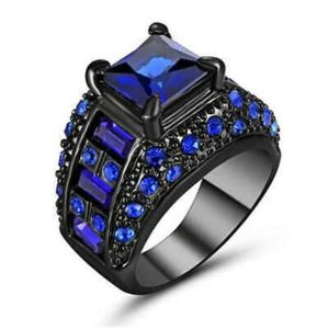 Fairytale🔵18Kt Blk Gold Filled Blue Sapphire Ring